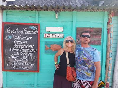 Vanessa and festival buddy Basie in Ponta Malogane, Mozambique - photo by Vanessa Massyn